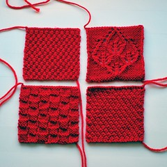 Knitted squares (stooferdoofer) Tags: red texture square knitting squares knit blanket knitted textured