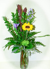 "#02ED $45 as shown to $65 Trio Vase with Iris, Sunflower, Fuji, Delphinium. Subject to color change or flower substitutions as available • <a style=""font-size:0.8em;"" href=""http://www.flickr.com/photos/39372067@N08/16226883888/"" target=""_blank"">View on Flickr</a>"