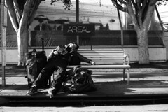 AREAL (coffeeintheAM) Tags: blackandwhite public monochrome canon rebel mono la santamonica streetphotography lax dtla homless xsi