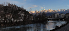 Grenoble @ sunset (Hlne_D) Tags: winter sunset panorama mountain snow france alps photoshop montagne alpes grenoble river hiver chartreuse rivire neige coucherdesoleil belledonne isre rhnealpes labastille massifdelachartreuse chainedebelledonne hlned margionrhnealpes rhnealpesfrance