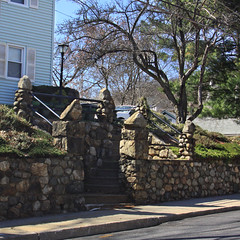 Stone Staircase (lefeber) Tags: street light house newyork tree wall architecture stairs rural town shadows village streetlamp steps sidewalk lamppost staircase railing rockwall smalltown hudsonvalley highlandfalls