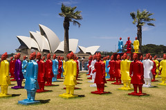Terracotta Warriors at Dawes Point (Kokkai Ng) Tags: road new blue red sky sculpture house art point army opera day terracotta year group chinese sydney reserve row clear installation warriors colourful lunar sculptures rd hickson dawes