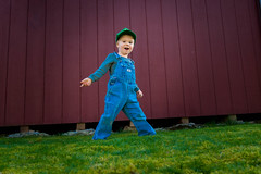 little farmer boy (Heather Bowman) Tags: blue red green grass hat kids oregon barn portland shed overalls johndeere oshgosh