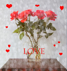 Hearts and Flowers (maureen bracewell) Tags: flowers roses stilllife texture love hearts valentine redbubble saariysqualitypictures