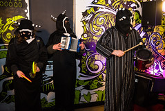 Thee Bald Knobbers (agataurbaniak) Tags: uk zeiss 35mm worthing concert nikon mask unitedkingdom robe live performance improvisation ritual cloak improv masked flashmob cloaked carlzeiss ritualistic 2015 d600 35mmf2 35mm2 nikond600 zf2 bar42 zeissdistagont235 theebaldknobbers agataurbaniak barfortytwo