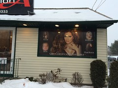 Salon A and Spa Window Perf (SirSpeedyPlainview) Tags: new york signs ny west window sign retail digital print island li bed hp long flat south centre huntington north vinyl east hills hempstead printing installation signage latex customer salon bethpage farmingdale install spa dix syosset rockville flatbed perf westbury plainview woodbury melville uniondale commack mineola a