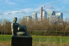 Woman & Fish (helenoftheways) Tags: sculpture womanfish frankdobson skyline canarywharf citibank trees green islandgardens hsbc freeassociation