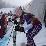 Hemlock's Megan Kardoes in the Super-G Start Gate
