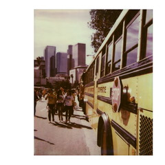 School Bus (tobysx70) Tags: california ca street new school toby horse color bus film sign yellow project polaroid photography la los downtown chinatown skyscrapers angeles year hill crowd chinese system stop tip instant 1200 hancock spectra cp protection dtla highrises 680 impossible pz the 2014 of impossaroid