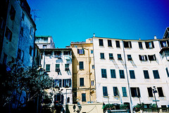 San Remo houses (Stephen Dowling) Tags: travel summer italy film 35mm xpro lomography crossprocess sanremo cosinacx2 agfact100precisa