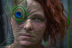 Eye Patch (tonyajbender) Tags: portrait abstract beautiful artistic sister creative feather peacock hazel redhair gorgeos