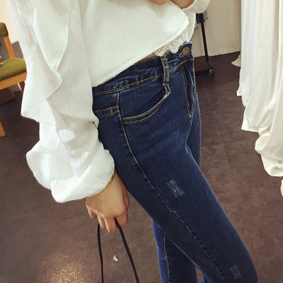 Korean students in spring and summer high waist nine worn jeans women slim stretch skinny feet pencil trousers tide