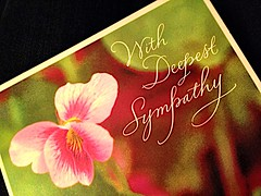 """EXPLORED!  With Deepest Sympathy- a card I received after my husband died on July 13th. """"Card"""" theme for Macro Monday. So sad..... (ArtsySFMarjie) Tags: sadness sympathycard died husband rip july132016 dw sympathy cards monday macro explored explore"""