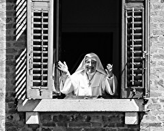 Bless you (10000 wishes) Tags: venice italy love window smile faith religion nun kind shutters welcome greeting praise openarms