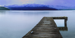 Calm morning Tarawera (wendyjudith65) Tags: landscape lakescape jetty water sunrise softlight clouds mistymorning