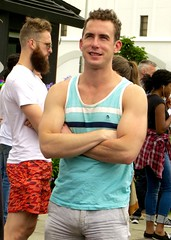 IMG_6335 (danimaniacs) Tags: losangeles westhollywood gaypride parade man guy sexy hot hunk tanktop bulge smile