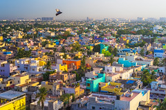 Early Morning in urban Chennai, India (aotaro) Tags: earlymorning fe55mmf18za morninglight landscape hiltonchennai city india chennai colorfulhouses flyingbird cityscape colors morning ilce7m2 urbanchennai