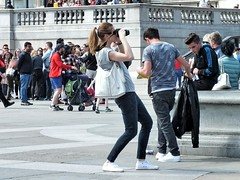 Trafalgar Square Photographer (Waterford_Man) Tags: girl jeans street people photographer path tourists london candid
