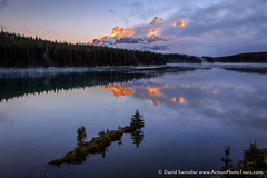 Almost Obscured (David Swindler (ActionPhotoTours.com)) Tags: canadianrockies rundle reflection mountains island mtrundle lake twojack fog canada