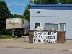 N-P Husky Scrap Iron Fundraiser, Nashua, IA (Robby Virus) Tags: nashua iowa np husky scrap iron fundraiser dumpster sign signage trailer