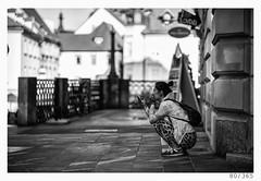 any place, any time (Alja Ani Tuna) Tags: 80 80365 365 girl woman mobile squat nice bw blackandwhite black white blackwhite beautiful nikond800 nikkor nikkor85mm naturallight nature city ljubljana 85mmf18 d800 f18 shadow
