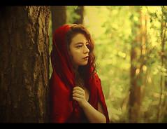 Little Red Riding Hood (Marina Kat) Tags: red nature fairytale forest woods bokeh littleredridinghood