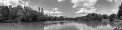SKSmedia-NY-Boat Pond Panorama (SKSchicago) Tags: park new york city nyc trees summer sky urban bw plants white plant ny black building green tower clouds buildings boat pond downtown day cityscape cloudy manhattan gray central sharp highrise hdr highrises partly sks sksmedia skschicago
