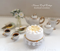 White Gold Porcelain High Tea Set (https://www.etsy.com/shop/KawaiiCraftCottage) Tags: party summer food 6 flower cute cup coffee yellow cake set ceramic 1 miniatures miniature high doll dolls counter display tea barbie fake plate cups clay gift kawaii pastry daisy plates blythe porcelain dollhouse kitchenware polymer