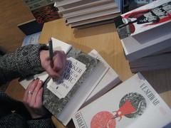Hands, Signing (miketransreal) Tags: fiction magic victoria paperback shade tor signing deeper schwab hardcover transreal tital
