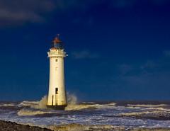 New Brighton Lighthouse (Sam Knox) Tags: sea england storm castle beach liverpool coast waves northwest coastal shore riverfront seafront mersey wirral newbrighton merseyside irishsea rivermersey fortperchrock newbrightonlighthouse perchrock perchrocklighthouse liverpoolskyline januarystorms