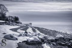 Snow trails- (Singing With Light) Tags: morning ice beach fog photography pier gulf pentax january 8 february k3 2014 ctwinter gulfbeach miilford lismanlanding singingwithlight singingwithlightphotography