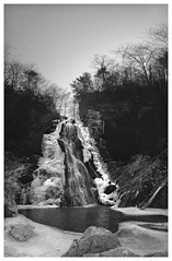 Stiles Falls (daveelmore) Tags: winter bw panorama ice nature virginia frozen blackwhite waterfall va stitchedpanorama purgatorycreek stilesfalls altamons mzuiko918mm