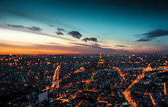 Paris Tilt-Shift (A-lain W-allior A-rtworks) Tags: street city roof light sunset blur paris france building tower rooftop monument nikon cityscape tour bokeh top shift eiffel lumiere 24mm tilt montparnasse ts ville d800 immeubles samyang