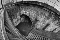 urban void (HJK Photography) Tags: urban blackandwhite bw monochrome stairs underpass subway mono decay steps wideangle stairway fisheye sw 8mm decline schweinfurt