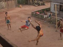 Sepak takraw in Laotian village