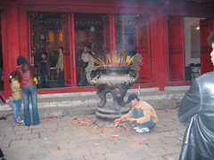 Smoking Incense Filled Vat in Hanoi Temple