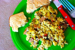 Scrambled Eggs with Sausage & Green Chile (richardzx) Tags: breakfast eggs scrambledeggs greenchile