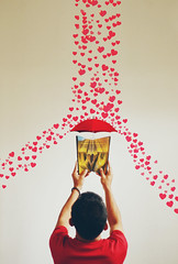 book of love (DCT Imagery & Photography) Tags: red man love colors rain umbrella hearts book holding image nopeople confetti falling backgrounds copyspace valentinesday heartshape exploding vibrantcolor blurredmotion colorimage largegroupofobjects isolatedonwhite