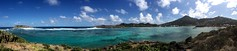 (Kellensbh) Tags: blue sea sky panorama sunlight green nature colors clouds island waves view lagoon caribbean peninsula stbarts antilles frenchwestindies fwi