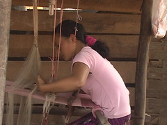 Girl Making Textiles Laos