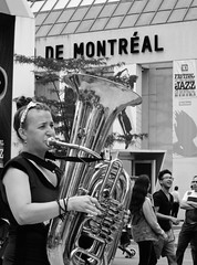 Montreal Girl (Anna Sikorskiy) Tags: life street city summer people urban blackandwhite bw music streetart canada abstract girl canon mood artistic outdoor montreal background joy streetphotography jazz lifestyle atmosphere