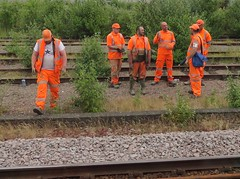 Track Workers - Keeping The Railway Moving. (ManOfYorkshire) Tags: workers hiviz orange muddy dirty boots overalls visibility guys workmen rail train railway track break chat job group network infrastructure wellingtons safety overgrown sidings weeds