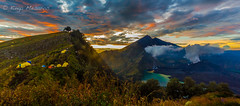 Morning on Rinjani (kingamesaros) Tags: red mountain lake clouds sunrise indonesia hiking smoke lombok vulcano rinjani segaraanak activevucano