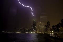 My second lightning photo (aerojad) Tags: chicago thunderstorm weather skyline longexposure lakemichigan summer lightning lightningphotography bolt chicagoist northavenuebeach
