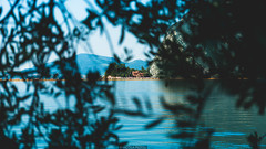 Isola di San Paolo (Nicola Pezzoli) Tags: blue italy lake tree art nature water colors yellow canon reflections landscape island design san paolo piers floating monte bergamo brescia lombardia isola iseo