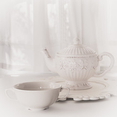 Tea Time in Shades of White (lclower19) Tags: takeaim white teapot cup charger window sb600 still life