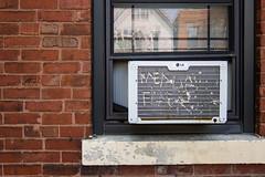 (223/366) Window Unit (CarusoPhoto) Tags: window unit air conditioner grill photo day project 365 366 john caruso carusophoto canon s90 brick bricks street wall