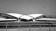 TWA Flight Center At JFK - Black And White Version; Queens, New York (hogophotoNY) Tags: blackandwhite queensnewyorkusa usa queensnewyork newyorkcity unitedstatesofamerica jfkairport landmark airport cameraphone digital dirt nystate 808 nyc nokia pureview eastcoast hogo unitedstates nokiapureview808 us nokia808pureview camera nokia808 hogophotony dirtywindow ny hogophoto