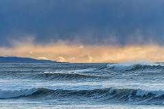 Three waves (Ian@NZFlickr) Tags: ocean light storm rain sunrise three waves pacific east nz otago passing hampden