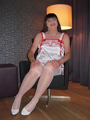 Feminine bliss (Paula Satijn) Tags: sexy hot teddy satin silk shiny gurl tgirl transvestite playsuit stockings lace bow white red happy smile legs pumps girl stockingtops